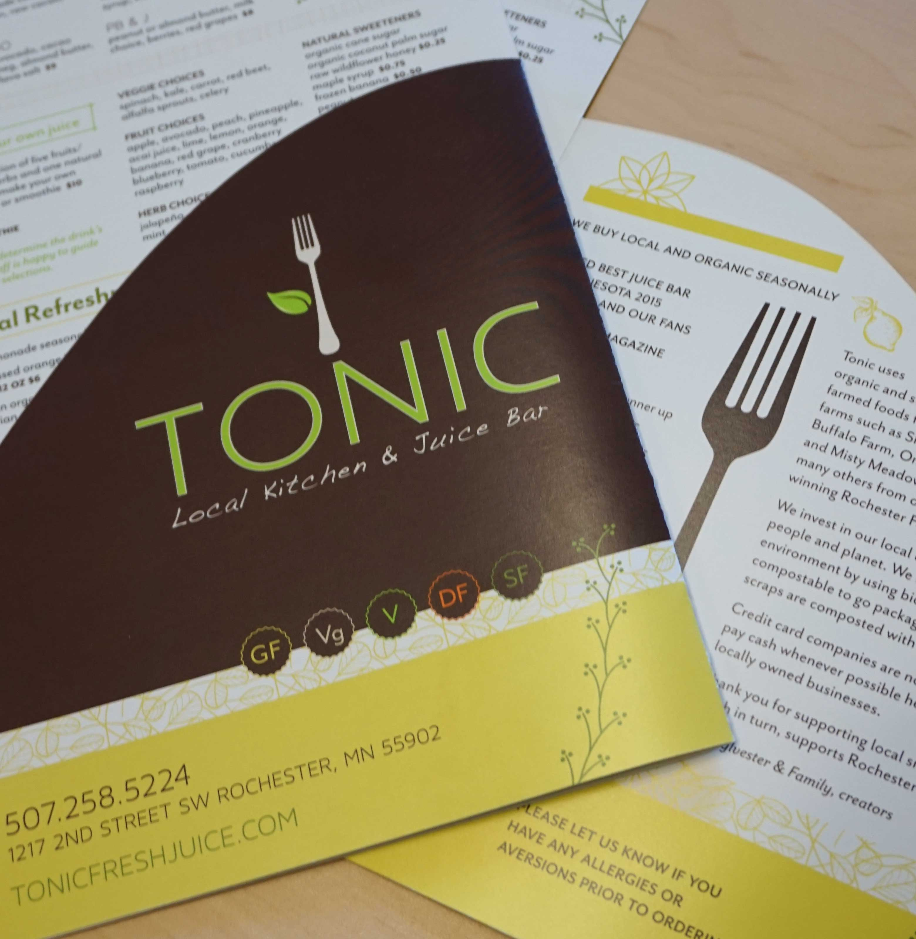 Offset Printing, Branding and Graphic Design Menu for Tonic Rochester Minnesota