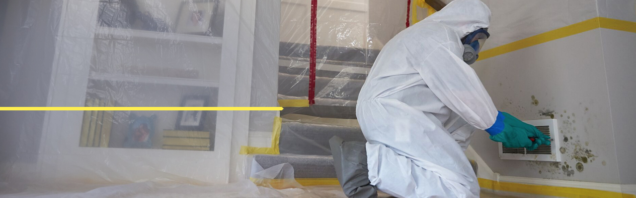 person in hazmat outfit working around a moldy wall